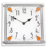 Art Deco style 30cm Square Amber Nouveau Leaded Acrylic Glass Wall Clock