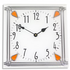 Art Deco style 30cm Square Amber Nouveau Leaded Acrylic Glass Wall Clock