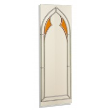 Art Deco/Nouveau/Gothic Amber Open Arch Design Leaded Rectangular Wall Mirror