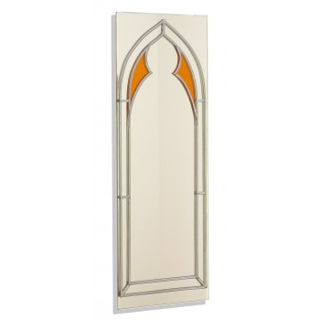 Art Deco/Nouveau/Gothic Amber Open Arch Design Leaded Rectangular Wall Mirror