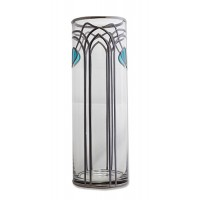 Aqua Buds Art Nouveau Decorative Leaded Stained Glass Round Flower Vase 30cm Tall