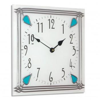 Art Nouveau style 30cm Square Aqua Buds Leaded Wall Clock