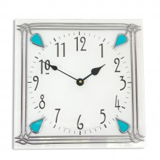 Art Deco style 30cm Square Aqua Nouveau Leaded Acrylic Glass Wall Clock
