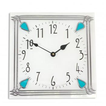 Art Deco style 30cm Square Aqua Nouveau Leaded Acrylic Glass Wall Clock