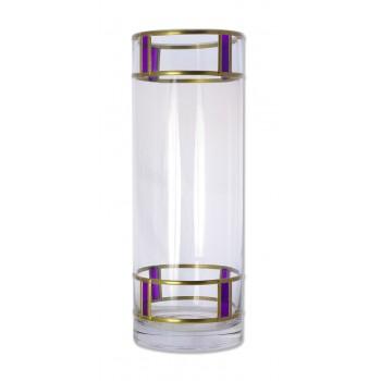Purple Berlin Art Deco Style inspired leaded Glass Flower Vase 25x9cm