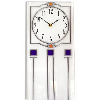 Art Deco Long Island Leaded Rectangle Wall Clock Design in White With Blue Detailing