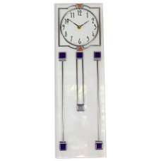 Art Deco Long Island Leaded Rectangular Wall Clock in White With Blue Detailing
