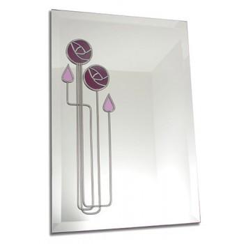 Mackintosh Inspired June Rose 33 x 48cm Rectangular Leaded Wall Mirror
