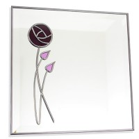 Mackintosh Inspired Plum Rose and Two Buds 30cm Square Glass Wall Mirror