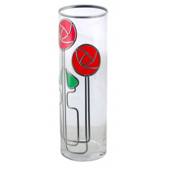 Mackintosh Style Twin Rose and Twin Box Buds Leaded Glass 30cm Vase