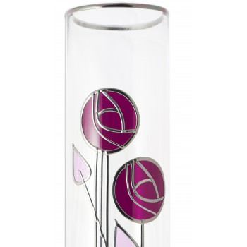 Purple and Lilac Mackintosh Style Rose and Loop Buds 30cm Leaded Glass Vase