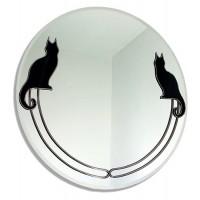 Deux Chat Noir Art Nouveau Round Leaded Decorative Large 40cm Wall Mirror