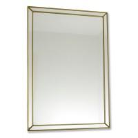 Classico Art Deco style 33 x 48cm Rectangular Gold Leaded Glass Wall Mirror