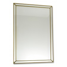 Classico Art Deco style 33 x 48cm Rectangular Gold Leaded Glass Wall Mirror