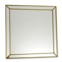 Classico Art Deco style 30cm Square Gold Leaded Glass Wall Mirror