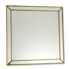 Classico Art Deco style 30cm Square Gold Leaded Glass Wall Mirror