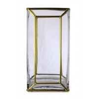Classico Art Deco Style inspired Gold leaded Square Glass Vase 20x10x10cm