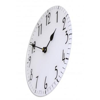Round Art Nouveau Style White Acrylic Glass Kitchen Wall Clock 25cm