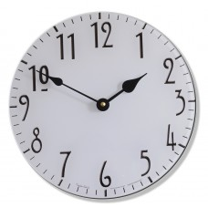 Round Art Nouveau Style White Acrylic Glass Kitchen Wall Clock 25cm