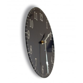 Round Satin Black and Cream Coloured Acrylic Glass Kitchen Wall Clock