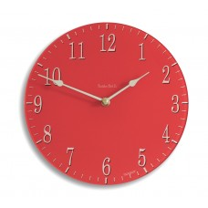 Round Satin Red Coloured Acrylic Glass Kitchen Wall Clock