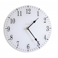 Round Satin White Coloured Acrylic Glass Kitchen Wall Clock