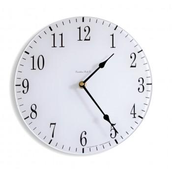 Round Satin White Coloured Acrylic Glass Kitchen Wall Clock