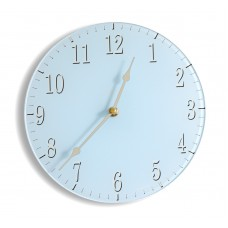 Round Soft Blue Contemporary Acrylic Glass Kitchen Wall Clock