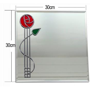 Mackintosh Style Red Rose With Bud twist Medium 30cm square glass Wall mirror