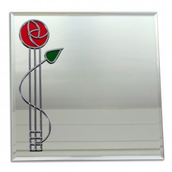Rennie Mackintosh Inspired Red Rose With Bud twist Large 40cm square glass Leaded Wall Mirror Design