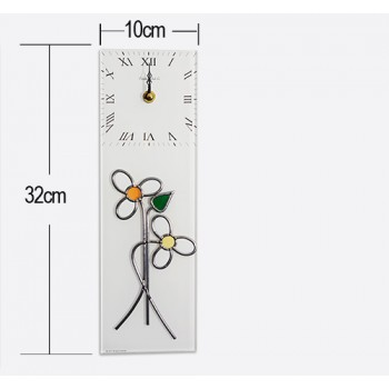 Daisies With Bud Art Nouveau Style Leaded Stained Glass Rectangular Kitchen Wall Clock