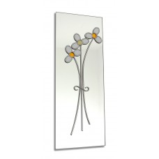 Art Deco/Nouveau Daisy Posy Design Leaded Rectangular Wall Mirror