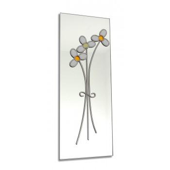 Art Deco/Nouveau Daisy Posy Design Leaded Rectangular Wall Mirror