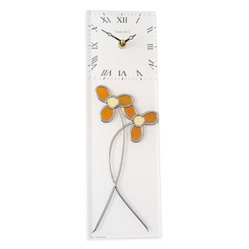 Daisy Art Nouveau Style Leaded Stained Glass Rectangular Kitchen Wall Clock