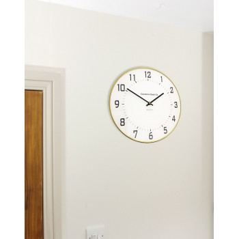 White Geneve 30cm Round Wall Clock with Gold Leaded Rim