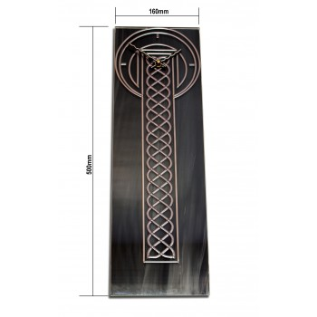 Grey Marbled Celtic Leaded Acrylic Glass Rectangle Wall Clock Design