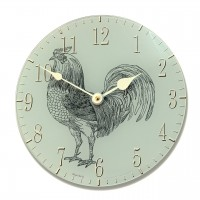 Round Teal Rooster Acrylic Glass Kitchen Wall Clock
