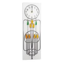 Art Nouveau Mackintosh Rosebuds Leaded Rectangle Wall Clock.