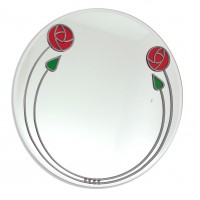 Large Art Deco Mackintosh Style Red Rose and Buds Round Leaded Stained Glass Decorative Wall Mirror Size 40cm