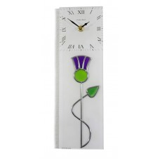 Art Deco/Nouveau Thistle With Twist Leaded Stained Glass Rectangular Wall Clock