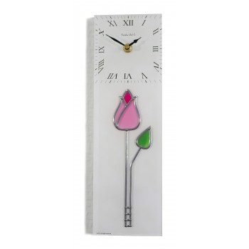 Art Deco/Nouveau Tulip With Bud Leaded Stained Glass Rectangular Kitchen Wall Clock