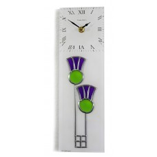Twin Thistle Leaded Stained Glass Rectangular Kitchen Wall Clock