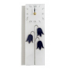 Harebell Leaded Stained Glass Rectangular Kitchen Wall Clock