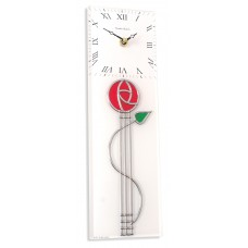 Art Deco Nouveau Mackintosh Red Rose with Bud Leaded Rectangular Kitchen Wall Clock