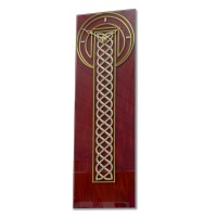 Celtic Rope Leaded Red and Gold Large Rectangle Wall Clock Design