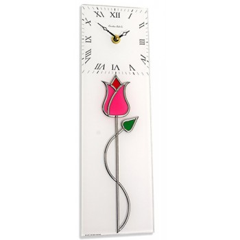 Tulip with Bud Twist Leaded Stained Glass Rectangular Kitchen Wall Clock