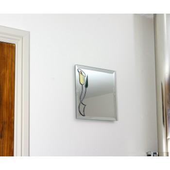 Art Nouveau Style White Lily with Nouveau Bud Twist Medium 30cm square glass Wall mirror