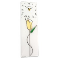 Art Deco Lily With Bud Twist Leaded Stained Glass Small Kitchen Wall Clock