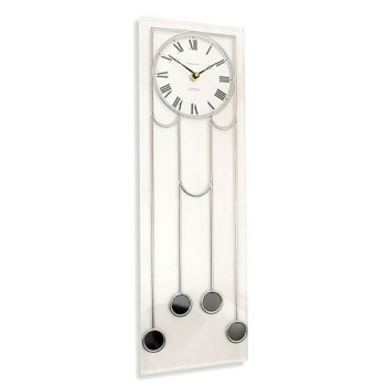 Art Deco Manhattan Leaded Rectangle Wall Clock Design in White With Black Detailing