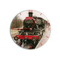 Steam Train Modern Round Acrylic Glass Medium kitchen Wall Clock 25cm dia